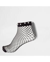 River Island - Black Faux Pearl Fishnet Ankle Socks - Lyst