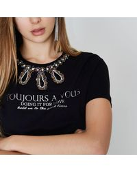 River Island - Black 'toujours' Beaded Necklace T-shirt Black 'toujours' Beaded Necklace T-shirt - Lyst