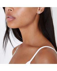 River Island - Metallic Gold Tone Diamante Clip On Earrings - Lyst
