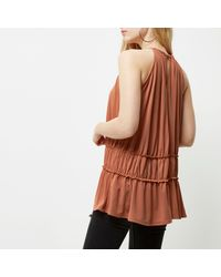 River Island - Dark Orange Ruched Trapeze Cami Dress - Lyst