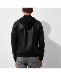 River Island | Black Only & Sons Faux Leather Hooded Jacket for Men | Lyst
