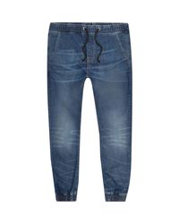 River Island | Mid Blue Wash Ryan Jogger Jeans for Men | Lyst