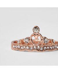 River Island - Pink Rose Gold Tone Rhinestone Crown Ring - Lyst