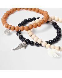 River Island - Black Wooden Bead Embellished Bracelet Pack - Lyst