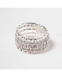 River Island - Metallic Silver Tone Diamante Encrusted Ring - Lyst