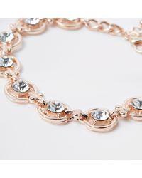 River Island - Multicolor Rose Gold Tone Diamante Circle Bracelet - Lyst