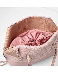 River Island - Pink Oversized Borg Shopper Tote Bag - Lyst