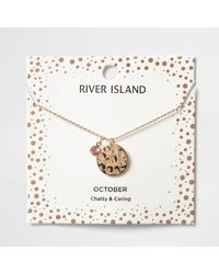 River Island - Pink Gem October Birthstone Necklace - Lyst