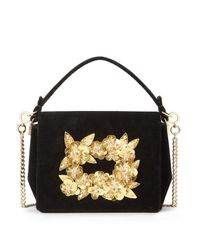33a0c4caa45 Roger Vivier Madame Viv' Gold Flower Embroidery - Lyst