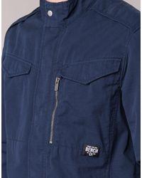 Bench - Blue Cotton Biker Jacket for Men - Lyst