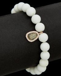 Meira T - Black Silver 0.38 Ct. Tw. Diamond & Quartz Stretch Bracelet - Lyst