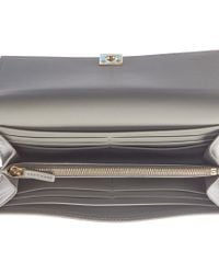 Fendi - Gray Leather Continental Wallet - Lyst