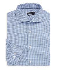 Bugatchi - Blue Shaped-fit Patterned Dress Shirt for Men - Lyst