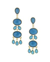 Sparkling Sage - Blue 14k Plated & Resin Drop Earrings - Lyst