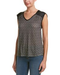 Three Dots - Black Asabi Silk-back Top - Lyst