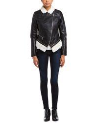 Dawn Levy | 2 Kit Kat Black Faux Shearling Trim Leather Jacket | Lyst