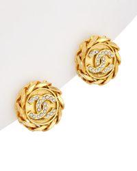 Chanel - Metallic Gold-tone & Crystal Chain Border Clip-on Earrings - Lyst