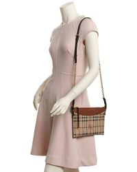 Burberry Brown Horseferry Check & Leather Clutch