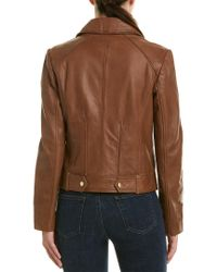 Cole Haan - Brown Drum Dyed Leather Jacket - Lyst
