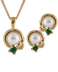 Splendid - Metallic 10k Emerald & 5-5.5mm Freshwater Pearl Necklace Set - Lyst