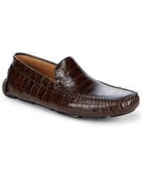 Saks Fifth Avenue Brown Exotic Embossed Leather Driver Shoes for men