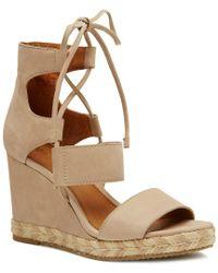 Frye | Brown Roberta Ghillie Nubuck Espadrille Wedge Sandals | Lyst