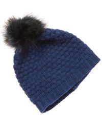 42fc8d3e17f37 Lyst - Portolano Women s Blue Cashmere Hat in Blue