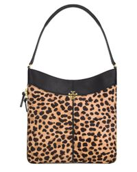 Tory Burch - Black Ivy Leopard Leather Hobo - Lyst