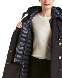 Moncler - Blue Wool-blend Down Coat - Lyst