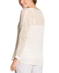 NIC+ZOE - White Linen-blend Sweater - Lyst