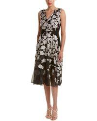 Lela Rose - Black Silk-blend Midi Dress - Lyst