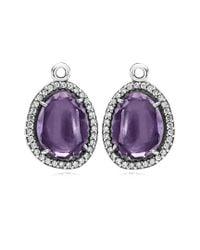 Pandora - Multicolor Glamorous Legacy Silver Amethyst & Cz Earring Charms - Lyst