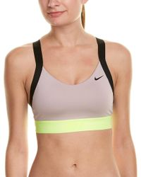 Nike - Natural Pro Indy Logo Back Bra - Lyst