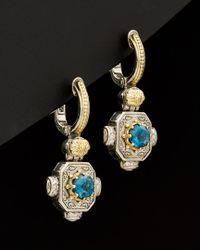 Konstantino - Multicolor Hermione 18k & Silver 1.08 Ct. Tw. Diamond & London Blue Topaz Earrings - Lyst