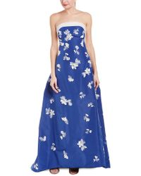 5ae5cf28c597b9 Lyst - Carolina Herrera Strapless Embellished Silk-faille Gown in Blue