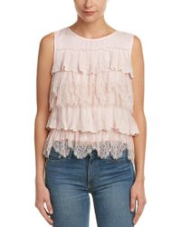 Ella Moss - Pink Tiered Ruffle Lace Top - Lyst