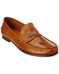 Donald J Pliner Brown Donald J Pliner Natale Leather Loafer for men