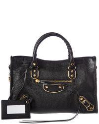 Balenciaga - Black Classic Gold Edge City Small Leather Shoulder Bag - Lyst