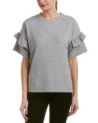 French Connection Gray Sudan Marl Ruffle Pullover