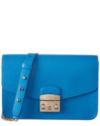 Furla - Blue Metropolis Leather Shoulder Bag - Lyst