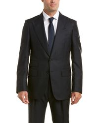 Tom Ford Blue 2pc Wool& Mohair-blend Suit With Pleated Pant for men