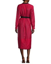 Proenza Schouler - Red Fringe Shirt Dress - Lyst
