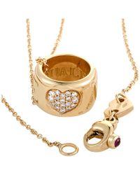Pasquale Bruni Metallic Amore18k Rose Gold 0.14 Ct. Tw. Diamond & Ruby Necklace