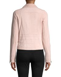 Pure Navy - Pink Leather Motorcycle Jacket - Lyst