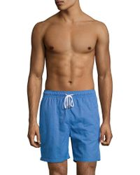 2505b0c69d Lyst - Brooks Brothers Daisy Printed 6montauk Swim Trunk in Blue for Men