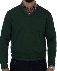 Robert Talbott - Green Aptos Wool V-neck Sweater for Men - Lyst