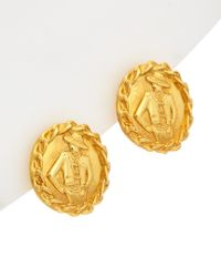 Chanel - Metallic Gold Tone Rope Edge Burst Earrings - Lyst
