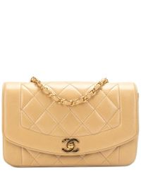 efe66d525809 Chanel Beige Quilted Lambskin Small Diana Chic Flap Bag in Natural ...