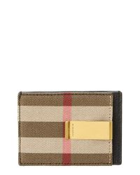 Burberry Black House Check & Leather Money Clip Card Case