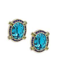 Heidi Daus - Blue Simple Stone Button Earrings - Lyst